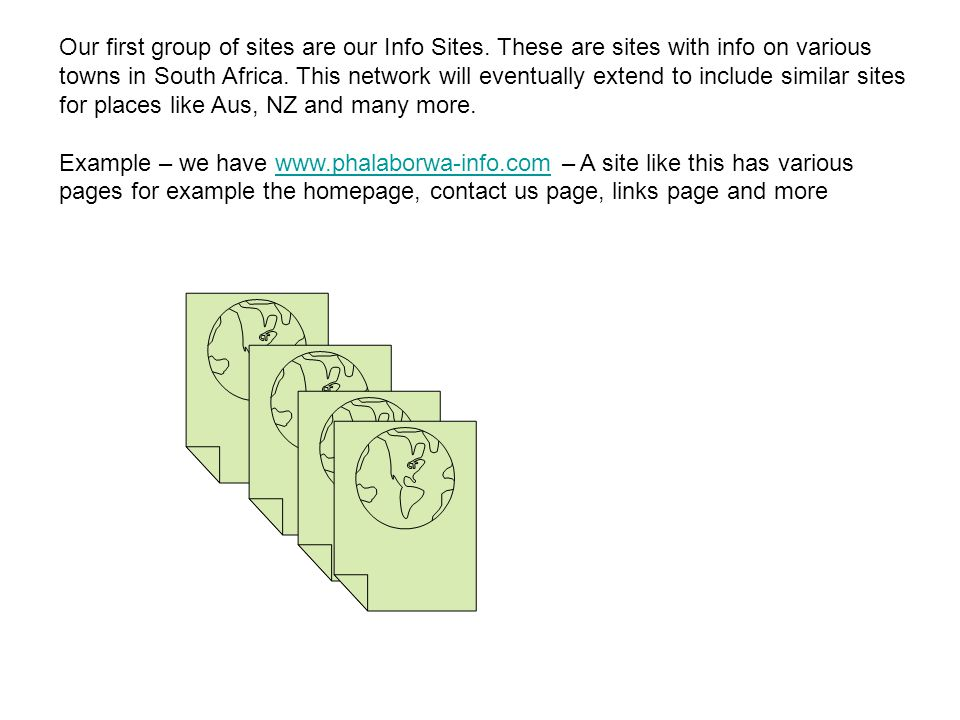 Our first group of sites are our Info Sites.
