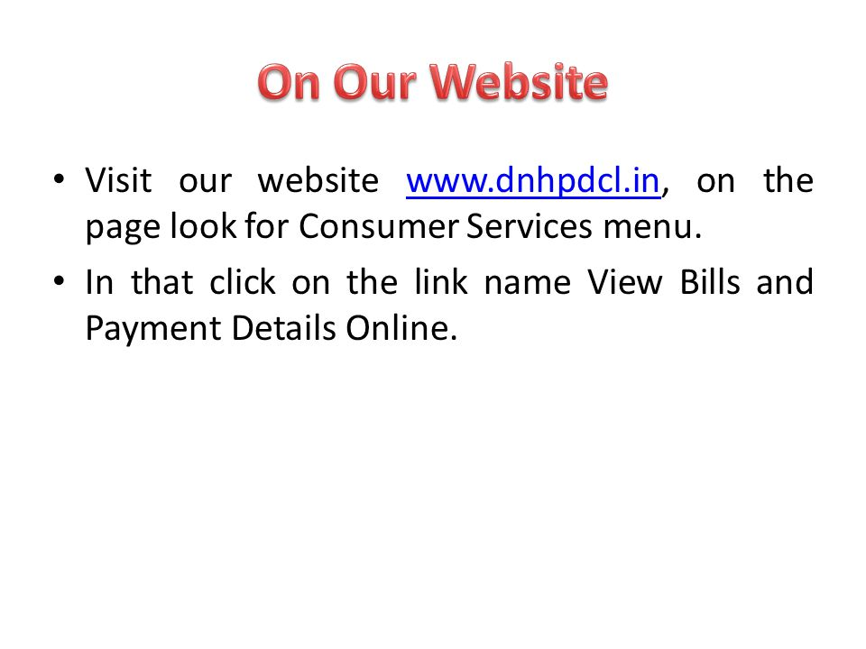 After you have Logged In Home page of Online Payment will appear with menu showing Home, Bill View, Pay Bill, Transaction Detail, Change Password, My Account and Log Out.