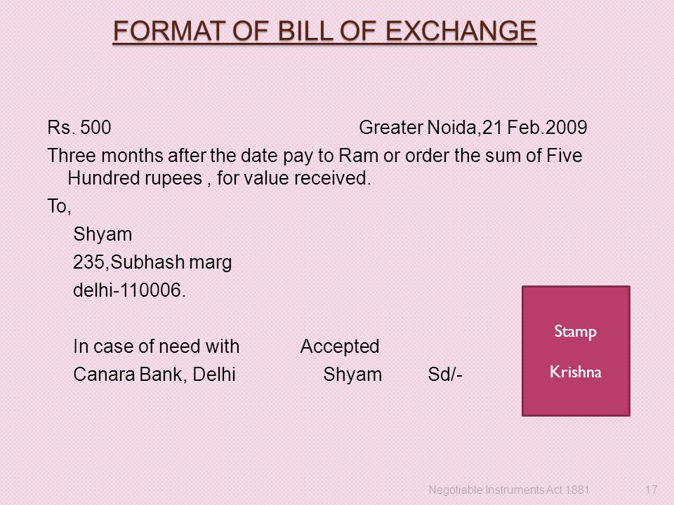 FORMAT OF BILL OF EXCHANGE Rs.
