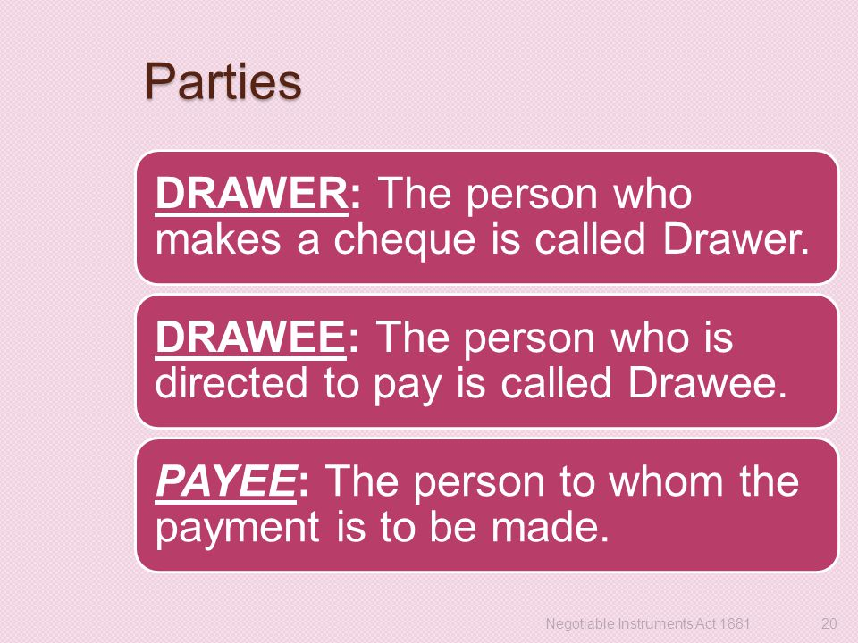 Parties DRAWER: The person who makes a cheque is called Drawer.