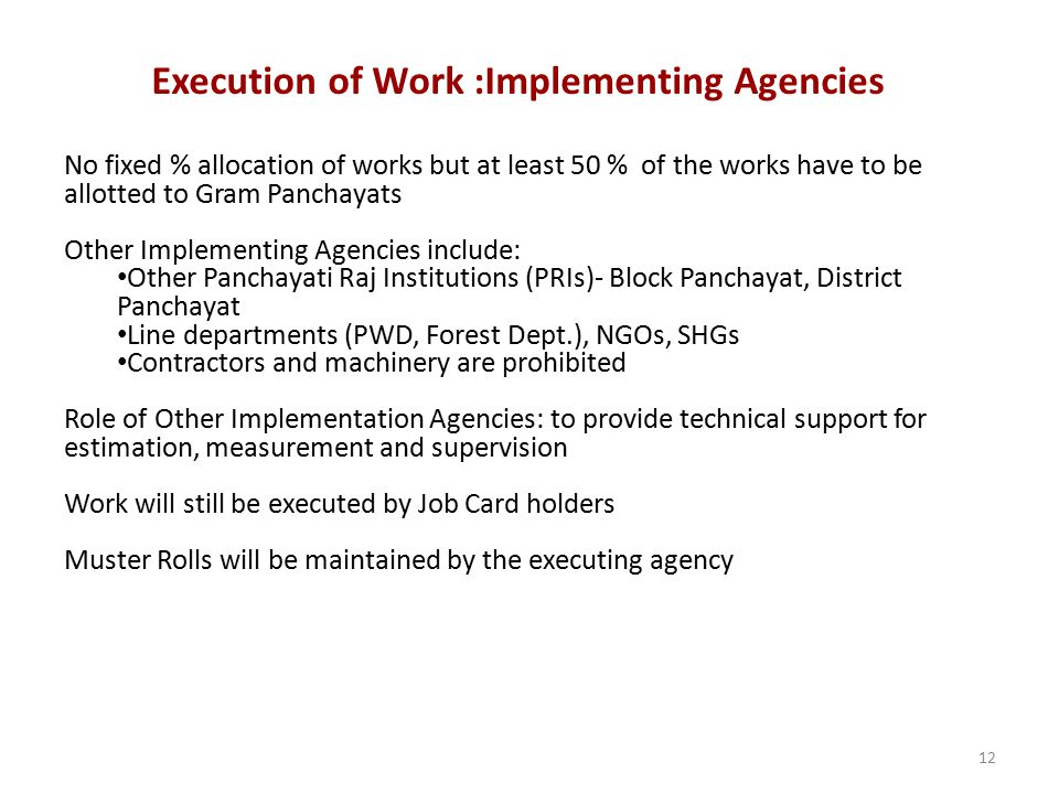 12 No fixed % allocation of works but at least 50 % of the works have to be allotted to Gram Panchayats Other Implementing Agencies include: Other Pan