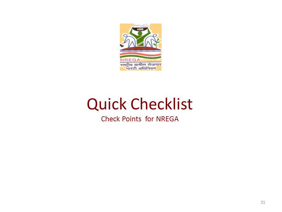 Quick Checklist Check Points for NREGA 31
