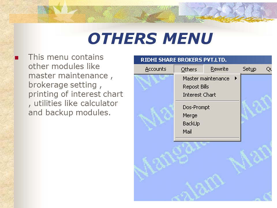 ACCOUNTS MENU This menu contains all the modules related to financial accounts.