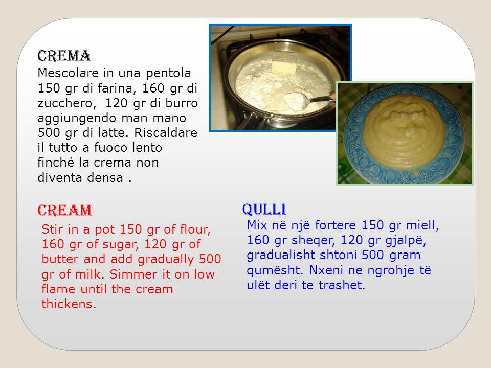 CREMA Mescolare in una pentola 150 gr di farina, 160 gr di zucchero, 120 gr di burro aggiungendo man mano 500 gr di latte. Riscaldare il tutto a fuoco