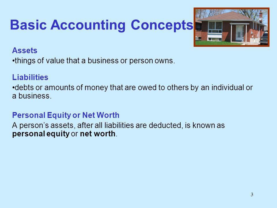 3 Basic Accounting Concepts Assets things of value that a business or person owns. Liabilities debts or amounts of money that are owed to others by an