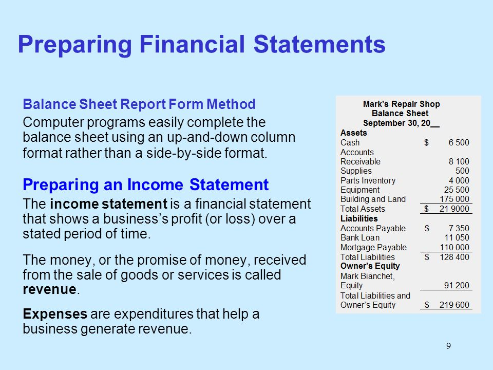10 Preparing Financial Statements Income Statements for Service Businesses Mark's Repair Shop Balance Sheet For the month ending September 30, 20__ Revenue Repairs Revenue$ 9 900 Total Revenue$ 9 900 Expenses Salaries$ 2 600 Rent 2 000 Advertising 850 Supplies 185 Utilities 235 Insurance 150 Delivery Expense 770 Total Expenses$ 6 790 Net Income$ 3 110 Step 1 Statement Headings Step 2 Organize Revenue Section Step 3 Organize Expenses Section Step 4 Calculate Net Income/Loss