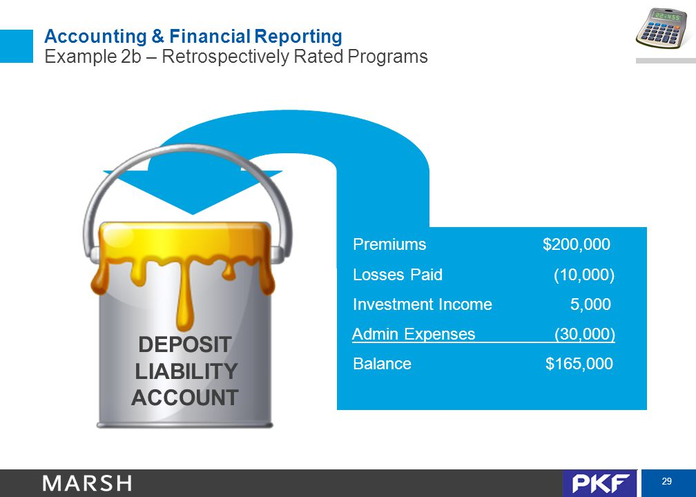 29 Accounting & Financial Reporting Example 2b – Retrospectively Rated Programs DEPOSIT LIABILITY ACCOUNT Premiums$200,000 Losses Paid (10,000) Invest