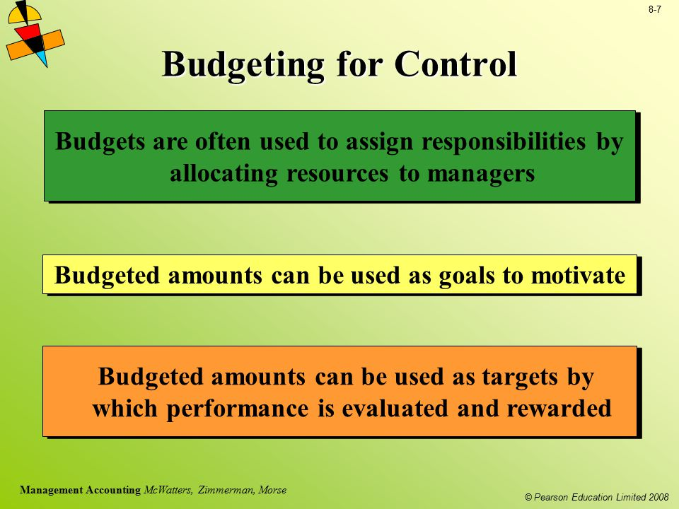 © Pearson Education Limited 2008 8-7 Management Accounting McWatters, Zimmerman, Morse Budgeting for Control Budgets are often used to assign responsi