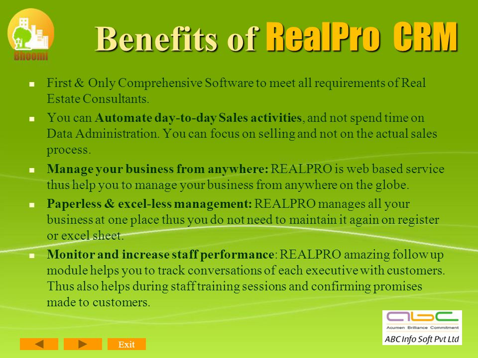 RealPro CRM Most CRM manages just your enquiries and to some extend the listing of property, but none of them are managing the after sales process, i.