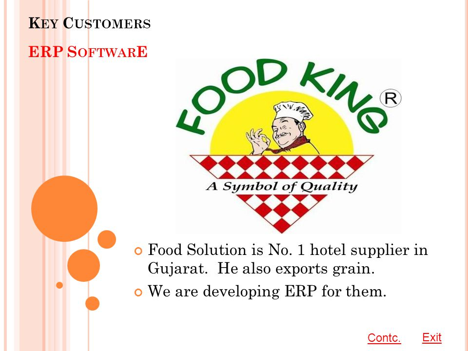 K EY C USTOMERS ERP S OFTWAR E Food Solution is No.