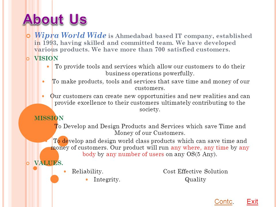 W HY WIPRA WORLD WIDE An ISO 9001:2008 Company Committed for World Class Products, World Class Support and World Class response Operating sing Since 1993 i.e.