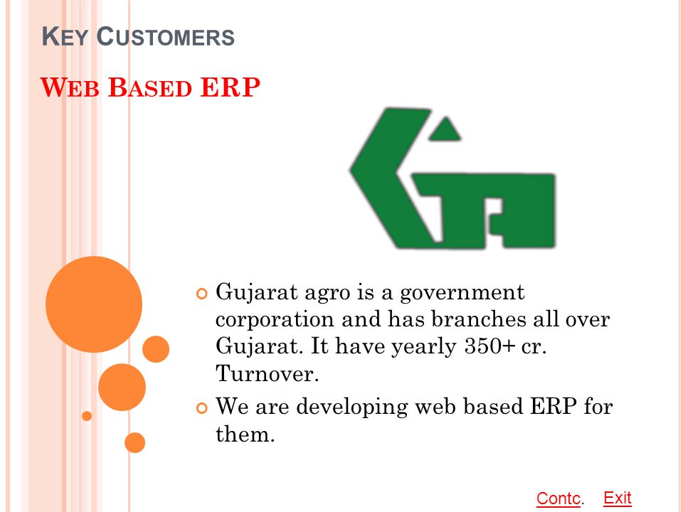 K EY C USTOMERS W EB B ASED ERP Gujarat agro is a government corporation and has branches all over Gujarat.