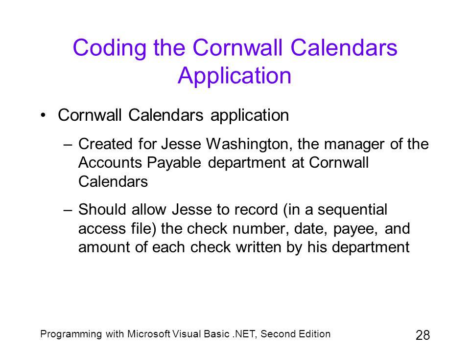Programming with Microsoft Visual Basic.NET, Second Edition 28 Coding the Cornwall Calendars Application Cornwall Calendars application –Created for J