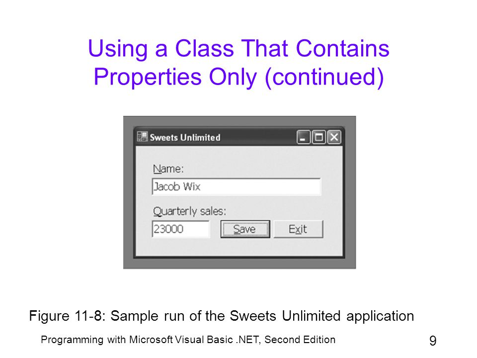 Programming with Microsoft Visual Basic.NET, Second Edition 9 Using a Class That Contains Properties Only (continued) Figure 11-8: Sample run of the S