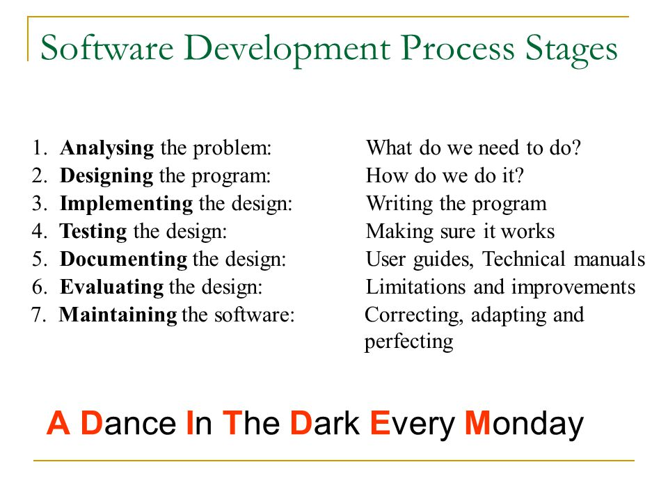 Software Development Process Stages 1. Analysing the problem: What do we need to do.