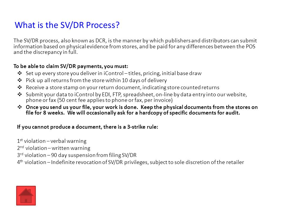 What is the SV/DR Process.