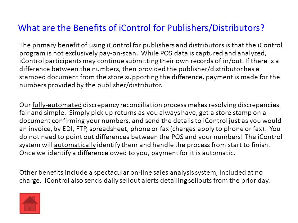 What are the Benefits of iControl for Publishers/Distributors.