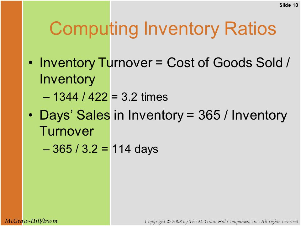 Slide 10 Copyright © 2008 by The McGraw-Hill Companies, Inc. All rights reserved McGraw-Hill/Irwin Computing Inventory Ratios Inventory Turnover = Cos