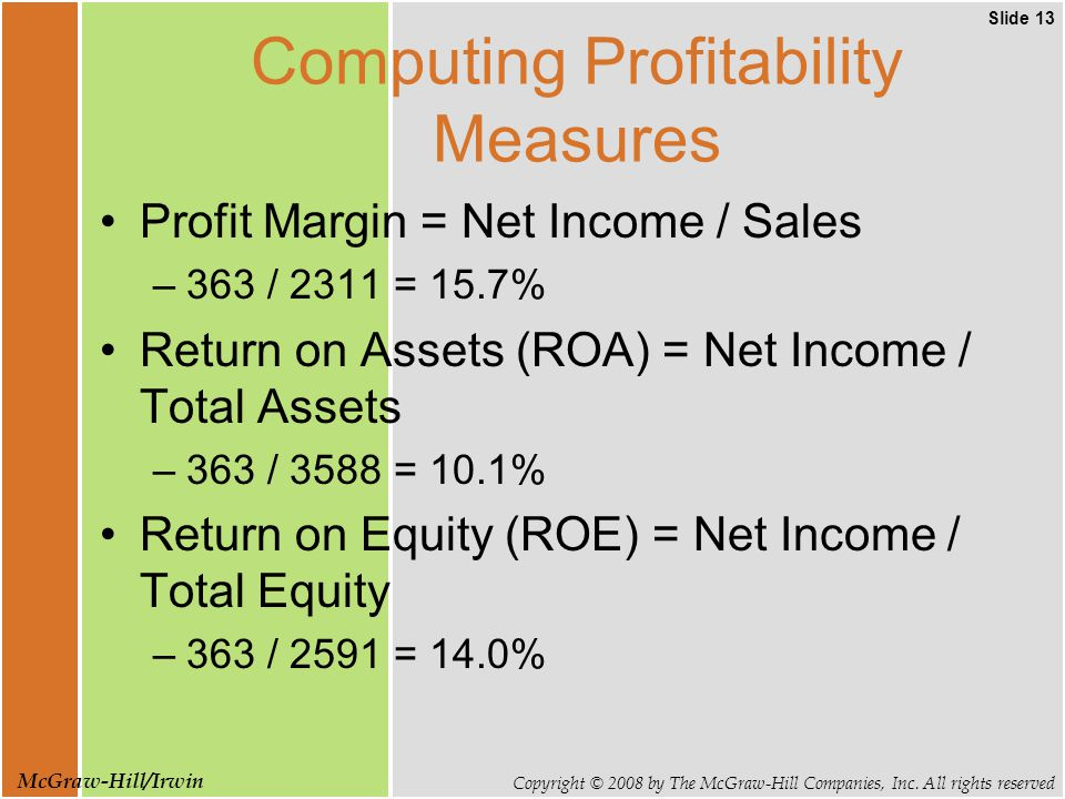 Slide 13 Copyright © 2008 by The McGraw-Hill Companies, Inc. All rights reserved McGraw-Hill/Irwin Computing Profitability Measures Profit Margin = Ne