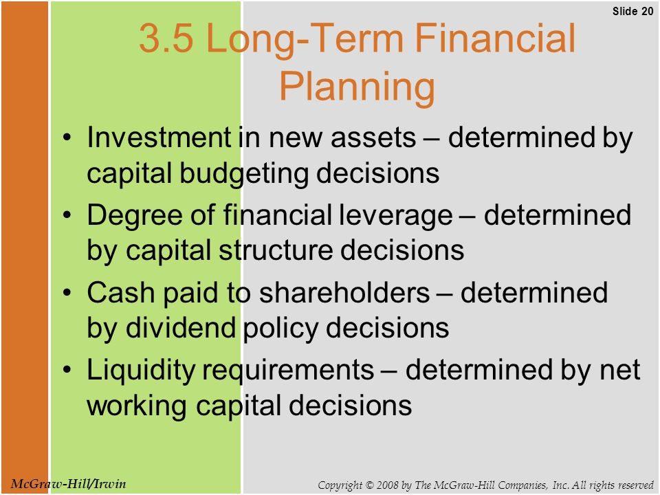 Slide 20 Copyright © 2008 by The McGraw-Hill Companies, Inc. All rights reserved McGraw-Hill/Irwin 3.5 Long-Term Financial Planning Investment in new