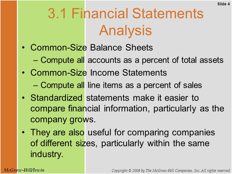 Slide 4 Copyright © 2008 by The McGraw-Hill Companies, Inc. All rights reserved McGraw-Hill/Irwin 3.1 Financial Statements Analysis Common-Size Balanc