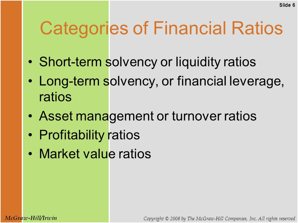 Slide 6 Copyright © 2008 by The McGraw-Hill Companies, Inc. All rights reserved McGraw-Hill/Irwin Categories of Financial Ratios Short-term solvency o
