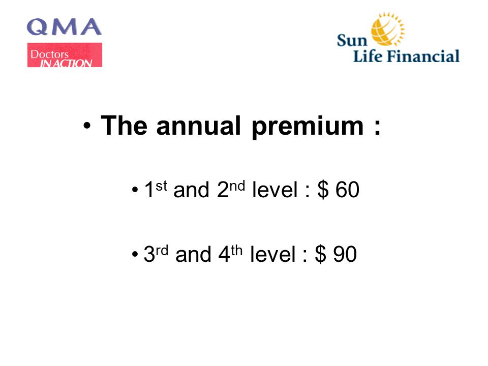 The annual premium : 1 st and 2 nd level : $ 60 3 rd and 4 th level : $ 90