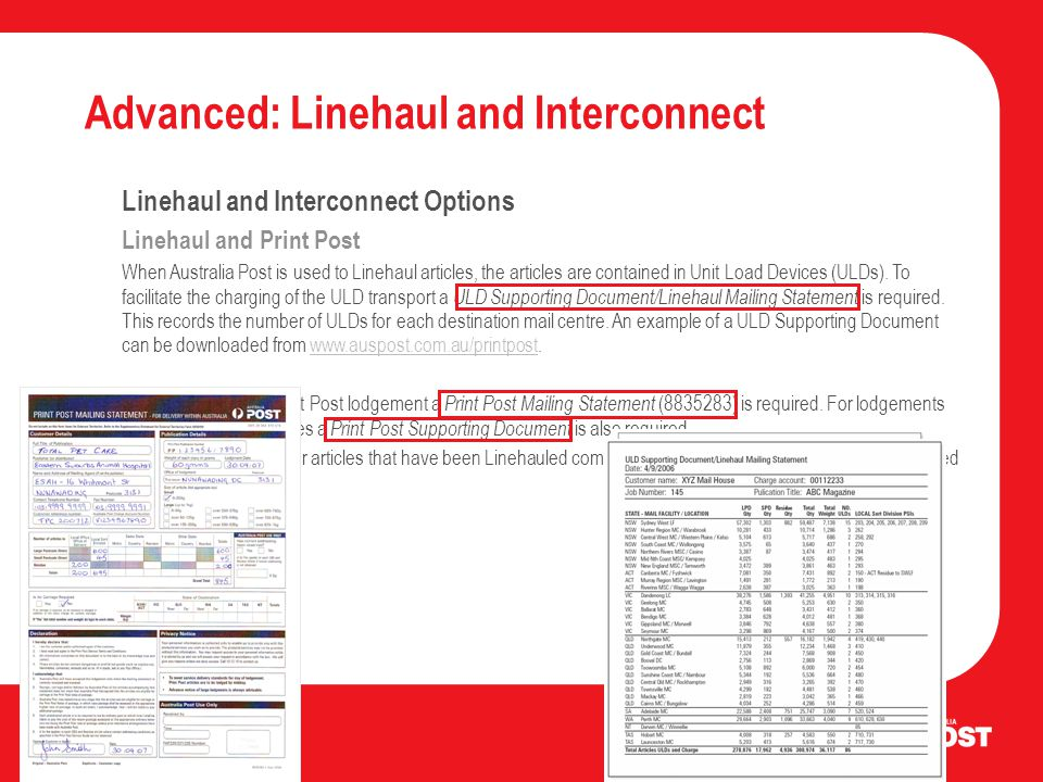 Advanced: Linehaul and Interconnect Linehaul and Interconnect Options Linehaul and Print Post When Australia Post is used to Linehaul articles, the articles are contained in Unit Load Devices (ULDs).