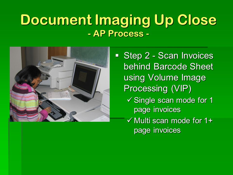 Document Imaging Up Close - AP Process -  Step 1 - Generate a Bar Code Sheet to separate invoices document type, ie. check request, invoice, etc. alp