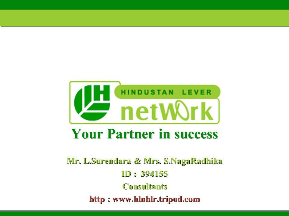 Your Partner in success Mr. L.Surendara & Mrs. S.NagaRadhika ID : 394155 Consultants http : www.hlnblr.tripod.com Mr. L.Surendara & Mrs. S.NagaRadhika