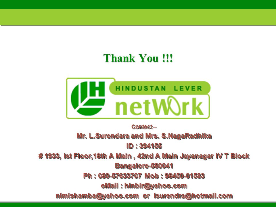 Thank You !!. Contact – Mr. L.Surendara and Mrs.