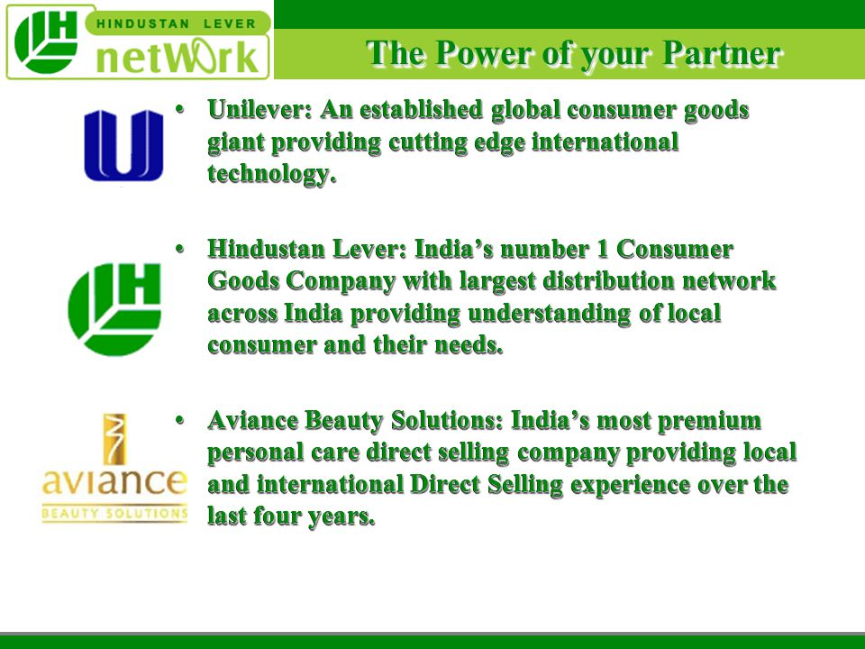 Promise of Partnership 1 Product Aviance Beauty Solutions: International range of high performance, high technology skin care, body care, color car and hair care customized for Indian consumers.Aviance Beauty Solutions: International range of high performance, high technology skin care, body care, color car and hair care customized for Indian consumers.