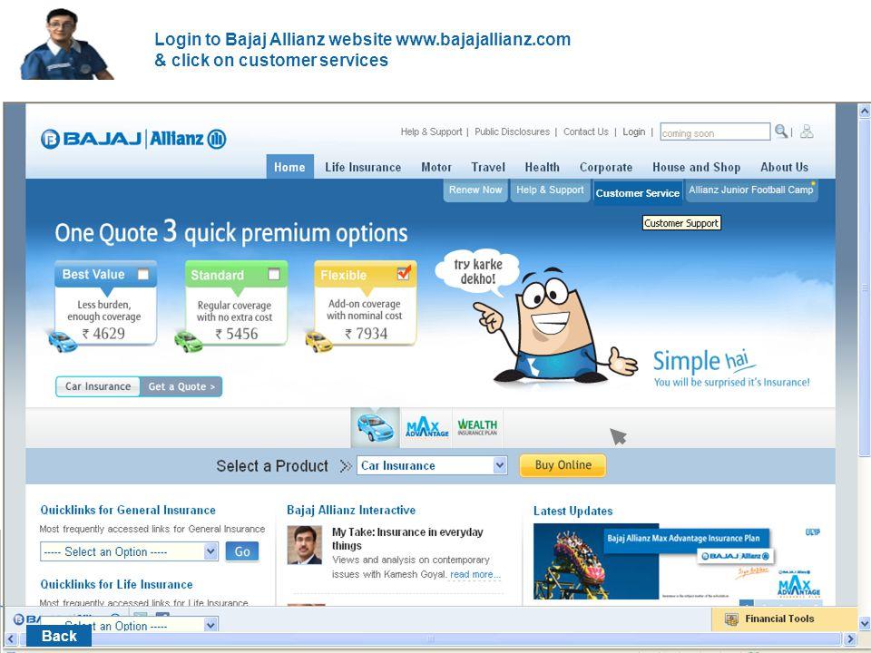Click on customer login Customer login Back