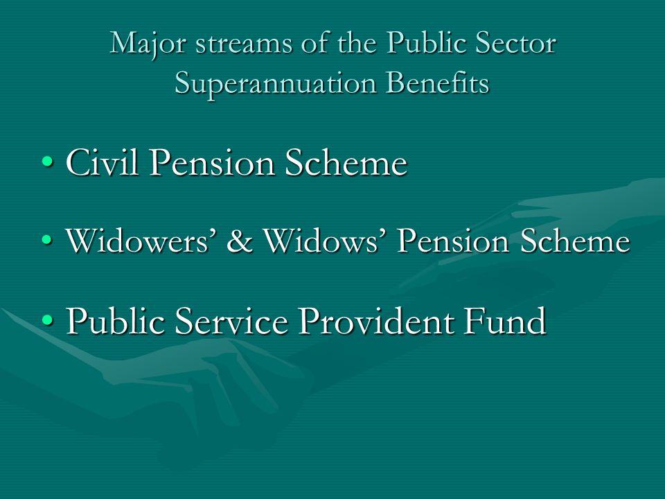 Major streams of the Public Sector Superannuation Benefits Civil Pension SchemeCivil Pension Scheme Widowers' & Widows' Pension SchemeWidowers' & Widows' Pension Scheme Public Service Provident FundPublic Service Provident Fund