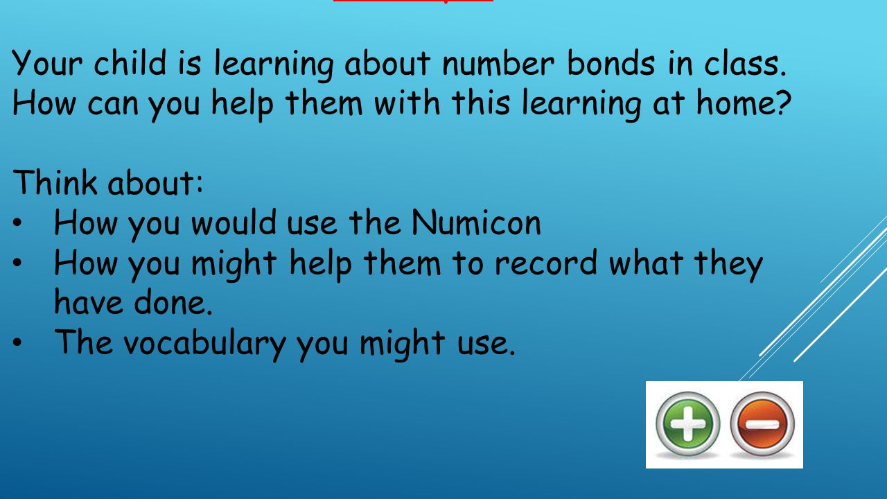 Activity 1: Your child is learning about number bonds in class.