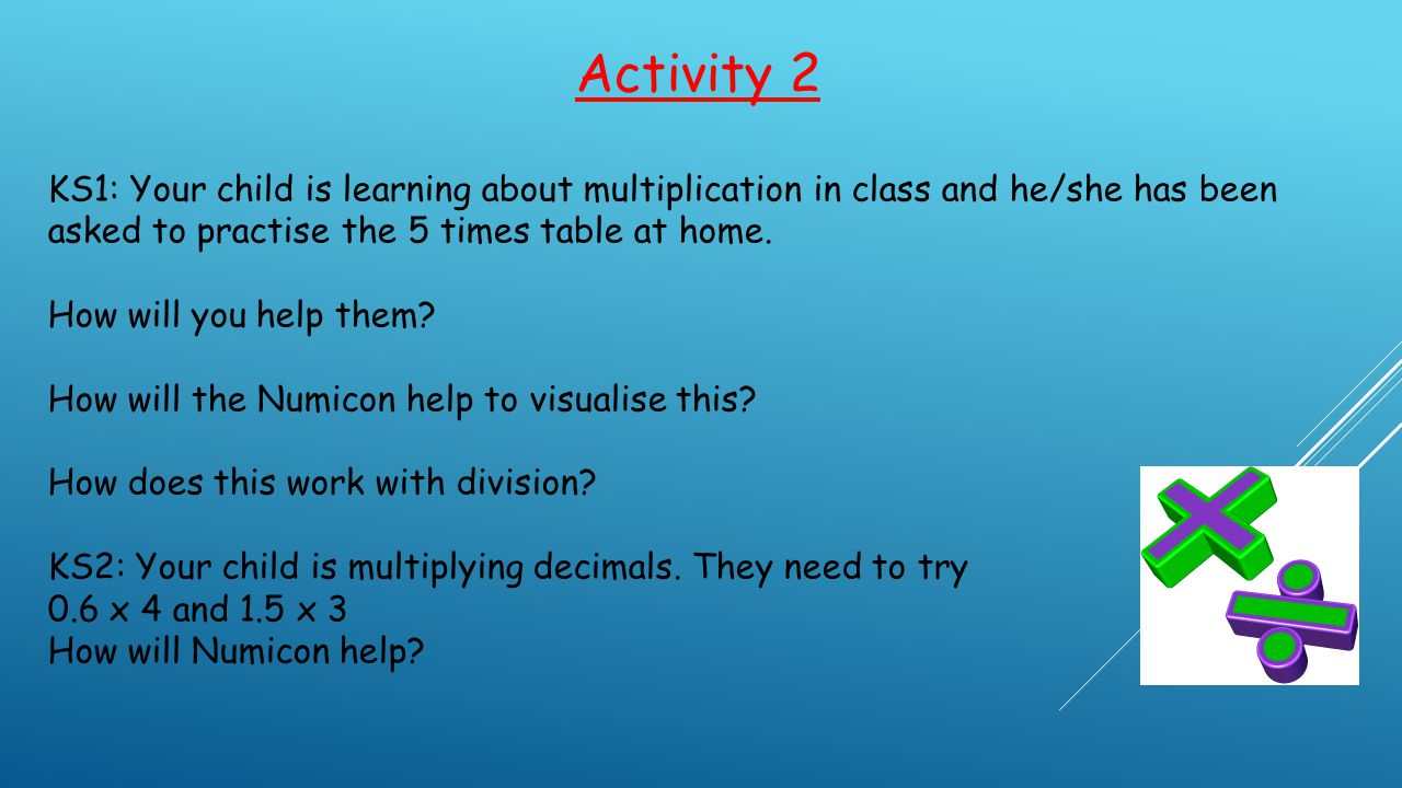 Activity 2 KS1: Your child is learning about multiplication in class and he/she has been asked to practise the 5 times table at home.