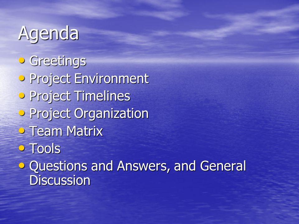 Greetings Greetings Project Environment Project Environment Project Timelines Project Timelines Project Organization Project Organization Team Matrix