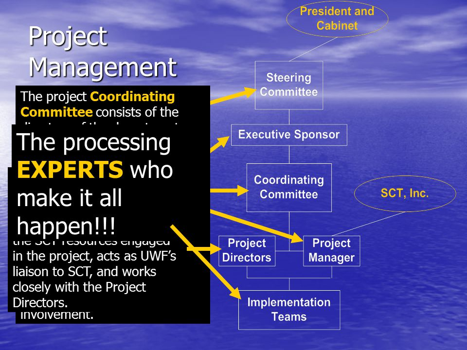 Project Management Project Steering Committee The Steering Committee serves as the senior administration of the project and is the liaison group to th