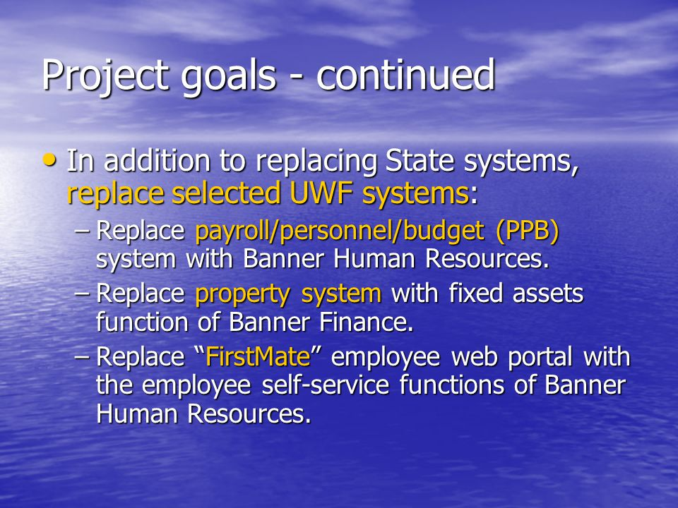 Banner Project Web Site Banner Project Web Site Calendars Calendars Project Definition Document Project Definition Document Project common directory Project common directory Configuration Management Plan Configuration Management Plan Issue/Jeopardy/Change Request Management Issue/Jeopardy/Change Request Management Meeting Agenda & Minutes Meeting Agenda & Minutes Status Reporting Status Reporting Tools