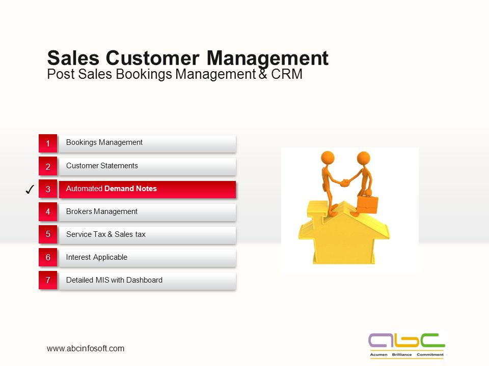 Post Sales Bookings Management & CRM Sales Customer Management Bookings Management 1 1 Customer Statements 2 2 Automated Demand Notes ✓ 3 3 Brokers Ma