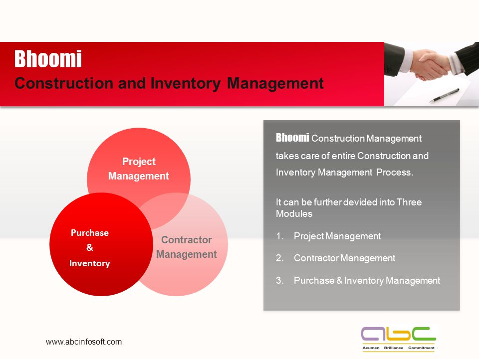Bhoomi Construction Management takes care of entire Construction and Inventory Management Process. It can be further devided into Three Modules 1.Proj