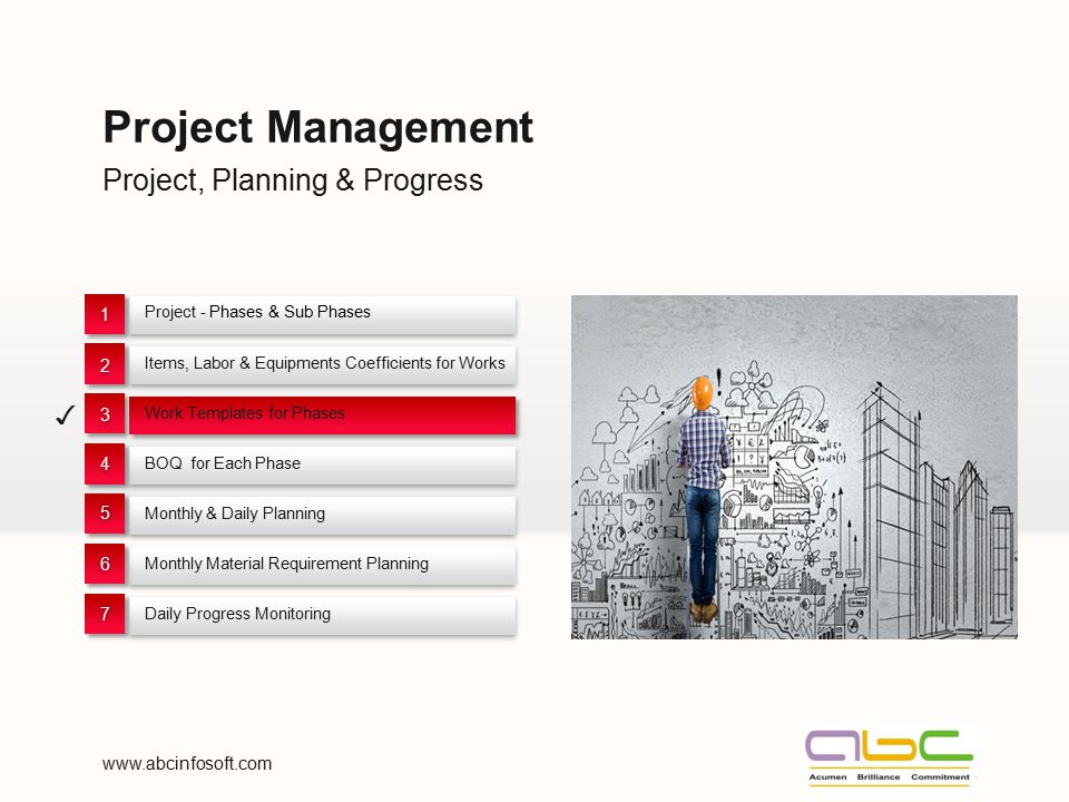 Project, Planning & Progress Project Management Project - Phases & Sub Phases 1 1 Items, Labor & Equipments Coefficients for Works 2 2 Work Templates