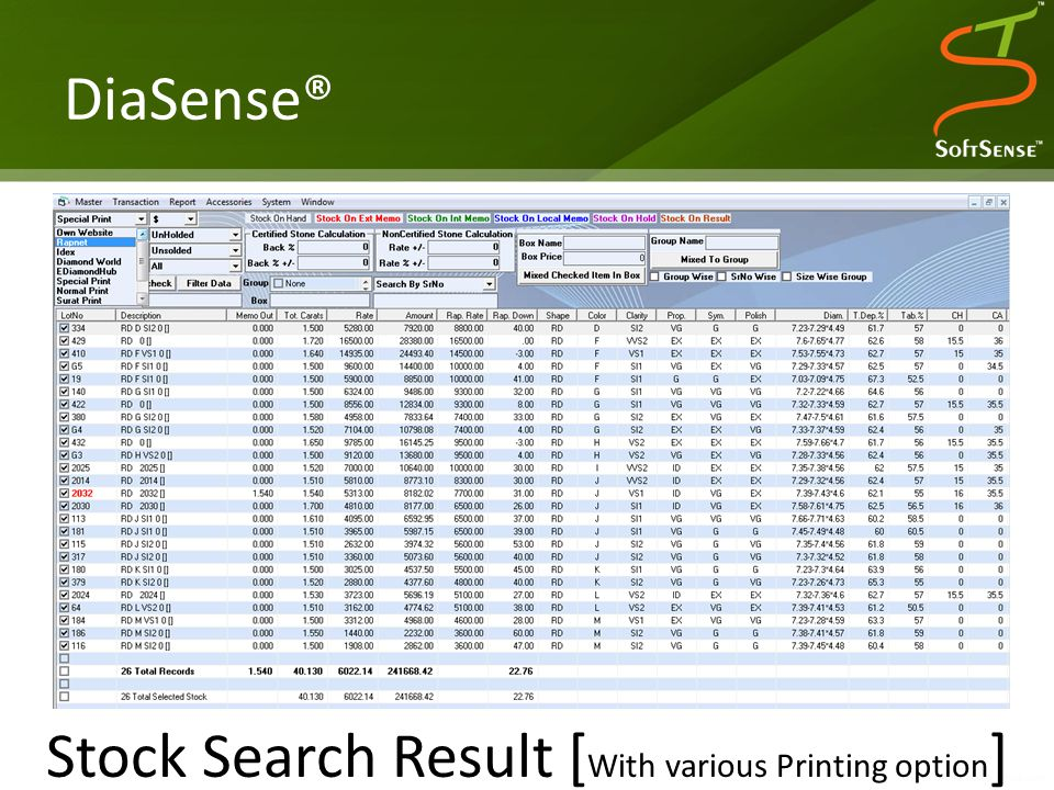 DiaSense® Stock Search Result [ With various Printing option ]