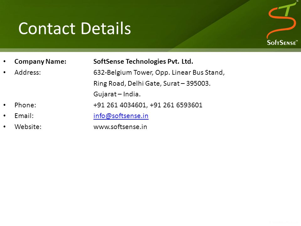 Contact Details Company Name:SoftSense Technologies Pvt.