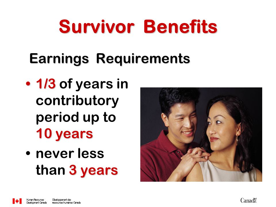 Earnings Requirements Earnings Requirements 1/3 10 years1/3 of years in contributory period up to 10 years 3 yearsnever less than 3 years Survivor Benefits