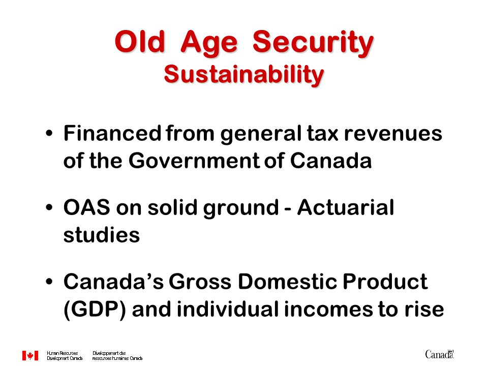 Financed from general tax revenues of the Government of Canada OAS on solid ground - Actuarial studies Canada's Gross Domestic Product (GDP) and indiv