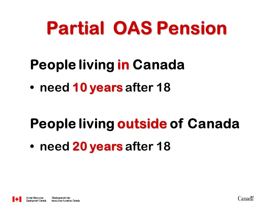 in People living in Canada 10 yearsneed 10 years after 18 outside People living outside of Canada 20 yearsneed 20 years after 18 Partial OAS Pension