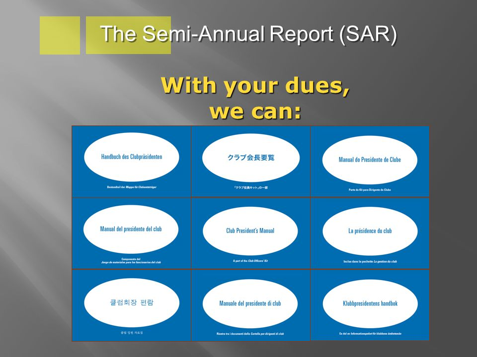 With your dues, we can: The Semi-Annual Report (SAR)