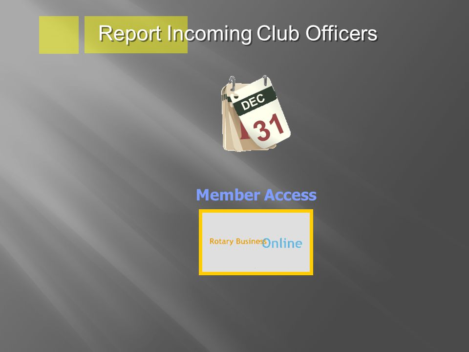 Report Incoming Club Officers DEC 31 Member Access