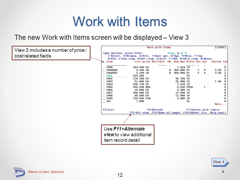 Return to Item Selection Work with Items The new Work with Items screen will be displayed – View 2 View 2 includes a number of item attributes 11 View 3 Use F11=Alternate view to view additional item record detail